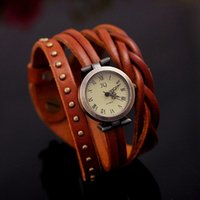 Wholesale women fashion braid high quality roma number cow leather watches high quality round rivet quartz wristwatch