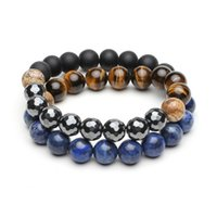 Wholesale Color Natural Stone Bracelet Retro Handmade Beads Bracelete Unisex Round Blue Stone Fashion Bangles Jewelry Smooth Stone Bracelets