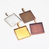 Wholesale TMC mm Square Cabochon Pendant Setting Vintage Metal Zinc Alloy Trendy Pendant Tray Jewelry Charms