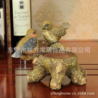 Wholesale European style home furnishings resin crafts ornaments wedding gift bridal chamber candlestick European bird lovers