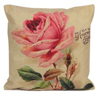 Wholesale Pink Throw Pillow Case Linen Vintage Rose cushion cover Personalized Home Decor Cushion Cover Pillowcase pc