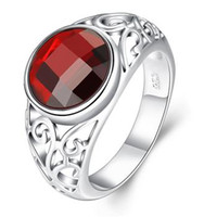 Wholesale 925 Silver Rings Ladies Gemstone Rings Red Stone Ruby Charm Rings Chirstmas Rings Wedding Rings For Women Size