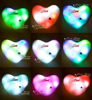 Wholesale 10 colorful LED light pillow lucky heart star two shaped glow pillow kids Christmas gift order lt no track