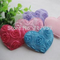 craft supplies - Festive Party Supplies Decorative Flowers Wreaths Big Padded Felt Love Heart Appliques Wedding Decoration Sewing Crafts E11