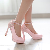 Wholesale 2015 spring new Korean version of sweet light colored high heeled wedding shoes thick with waterproof sequined buckle Single shoes