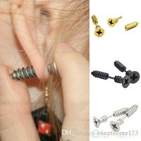 Wholesale Studs Spikes Shipping - Daily Deal 10pcs Screw Stud Earrings 2.3cm 0.91inch Lag Spike Ear Dangler Eardrop Stainless Steel 6 Colors 2 Sizes EPACKET FREE SHIPPING
