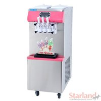Wholesale Pink color Floor standing Soft ice cream machine Three heads stainless steel with digital control Capacity liters hour ICM370