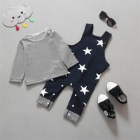 Cheap Baby 2-piece Sets Striped Tops+Stars Printed Suspender Pants Autumn Children Set Kids Clothes Outfits Suit Baby Clothing Y71
