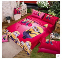 100% Cotton king size bedspreads - Minions bedding set king queen size children cartoon for kids bedspread duvet cover sheets bed in a bag bedroom quilt linen bedsheet cotton