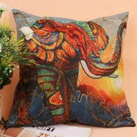 Wholesale New Colorful Elephant Pattern Cotton Linen Square Cushion Cover Sofa Throw Pillow Case Home Decor