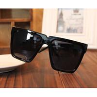 achat en gros de grosses lunettes de soleil noir super-Gros-Black Super Cool Cadre Big Square Flat Top 2016 New UV400 Lunettes de soleil Mode Femmes Hommes Lunettes de soleil