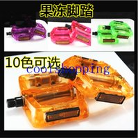 Wholesale Multi color Mountain Road Bicycle Pedals Yellow Light Reflector Flat Jelly candy Pedals