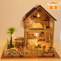 Unisex doll house - olls Accessories Doll Houses Home Decoration Crafts DIY Doll House Wooden Doll Houses Miniature DIY dollhouse Furniture Kit Room LED Ligh
