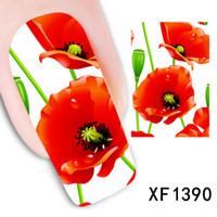 beautiful flower tattoos - sheets Beautiful Red Flower Nail Art Full Decals Water Transfer Stickers Decorations Watermark Tattoos Charm Nail Art XF1390