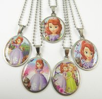 Wholesale Sofia Girls Necklaces Party gifts Hot sofia Stainless Steel Pendant Fashion Baby princess Necklaces Jewelry Styles Mixed