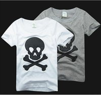 Wholesale Pure Cotton Summer Children Cartoon Tshirt Embroider Beard And Skull Short Sleeve Kids Boy Girl T Shirt Child Clothing Retail GX52