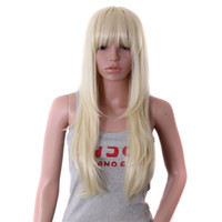 """Cheap 26"""" Cheap Synthetic Wig Long Curly Blonde Hair Full Bangs Wig Heat Resistant African American Wig For Women Cosplay Party Wig"""