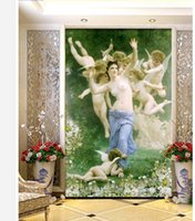 Wholesale Custom photo wallpaper D stereoscopic Oil painting People goddess angel TV background d mural wallpaper