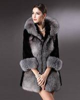 Wholesale 2015 New style women fashion autumn winters Slim Thicken fox fur coats heavy hair collar hooded imitation fur overcoat Plus size S XXXL