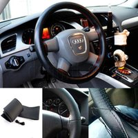 Wholesale 1pcs Black DIY Car Steering Wheel Cover With Needles and Thread Artificial leather High Quality