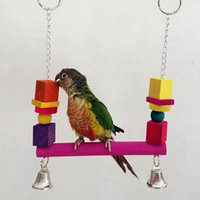 Wholesale Colorful Wooden Cage Hanging Swing Parrot Bird Toys Beads Blocks Standing Bridge Budgie Cockatoo Funny Toy