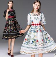 Wholesale 2016 New Women Clothing Summer Pinting Pincess Dress Big Girl Lace Pinting Sleeve Casual Pincess Dress Women Pinting Dress V7C3F