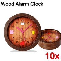 antiques coffee table - 10pcs Vintage style Wood Digital Alarm Clock Silent No Ticking Digital Table Desk Wood Alarm Clock for Coffee Bar