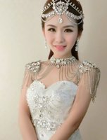 accessories gift boxe - The bride lace shoulder chain performance act the role ofing is tasted wedding crystal diamond necklace Korean wedding accessories gift boxe