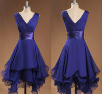 Wholesale Regency Custom made Cheap Short Party Homecoming Dresses A line Chiffon Ruffles Best selling Bridesmaid Dress V neck Backless Sash Prom gown