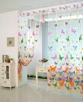balcony window - Wedding Backdrop Curtains Home Door Window Shower Curtain Butterfly Printed Tulle Voile Balcony Sheer Panel Screen Curtains Party Suplies