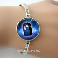 glass jewelry box - Doctor who tardis space bracelet Glass tile Doctor who moon space police box charm pendant plated silver jewelry HH1
