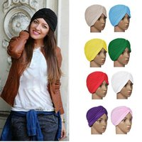 hat factory - 2015 hot sale Stretchy Turban Head Wrap Band Sleep Hat Chemo Bandana Hijab Pleated Indian Cap Colors Factory Price