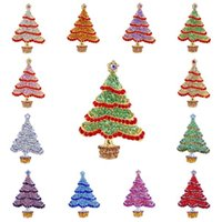 Wholesale 100PCS Shiny Christmas Tree Brooch Pins Decoration Vintage Crystal Rhinestone Brooches for Kids Girls Christmas Gift