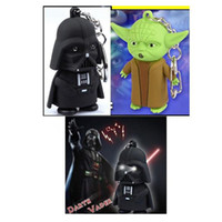 Wholesale Star Wars Darth Vader Yoda Keychain Accessories LED Luminous keychain Creative Chain Key Pendant Chrismas Gift
