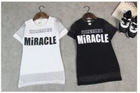 Wholesale 2015 Summer Children Clothing Baby Girls Letter Printed Suspender Tee shirt Tulle Gauze Smock Two piece Suit White Black B0190
