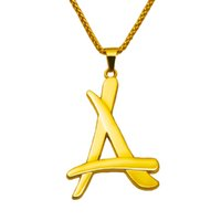 Cheap New Fashion 18k Gold Plated Hip Hop 75cm Long Chain Necklaces POP Star Letter A Pendants Necklace for Men Free Shipping