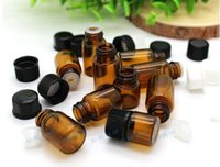 Wholesale HE46 Small Amber Essential Oil Bottle With Plastic Lids Sample Glass Bottle Mini Brown Glass Vials Small Glass Container