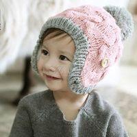 Wholesale Children winter cap children Autumn and Winter hat edition hat children with velvet hat Wool weaving hat