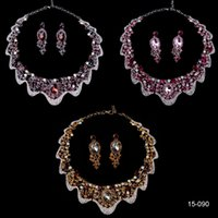 Wholesale 2015 New Luxury Gold Bridal Crystal K Gold Plated Metal Jewelry Necklace Earring Set For Bridal Evening Prom Cheap In Stock