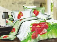 Cheap 3D Strawberry bedding set queen size quilt duvet cover 100% cotton bed sheets double bedspreads bedsheets linen bedclothes 4pcs