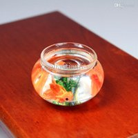 Wholesale Handmade Goldfish Fish Greenery In Glass Bowl Pond Miniature For Re ment Orcara Miniature Toys Dolls Accessories