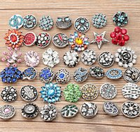 Wholesale 2016 Hot sales Mix styles mm noosa Metal Snap Button Charm Rhinestone Styles Button rivca Snaps Jewelry NOOSA chunk