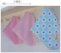 Wholesale Newborn Baby Burp Cloths Cotton Bibs Toddler Reversible Bandana Baby Triangular Bibs Infrant Feeding Bib Y sets