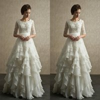 Wholesale Half Sleeves Wedding Dresses New Arrival Modest Wedding Gowns With Sleeves Lace Organza Floor Length Beach Bridal Dresses Full Back