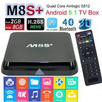Wholesale M8S Plus M8S Amlogic S812 Android Lollipop TV Boxes Quad Core G G M BaseT RJ45 G Wifi Gigabit Lan K KODI pre installed XBMC