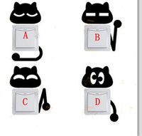 Wholesale 4pcs set Removable Switch Stickers For Home Decoration Animal Cat Switch Sticker Cartoon Wall Sticker For Parlor