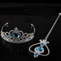 crown - Girls Cartoon Frozen Cosplay Ornament Anna Elsa cosplay Crown Tiaras Children Party Accessories Magic Wand sticks Rhineston D2410 sets