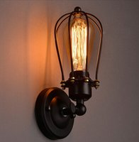 Wholesale Industrial American Country Style Grape Shape Small Iron Cage Wall lamp Light Ceilling Lamp E27 Edison Bulb sconce Bar Mall Coffee Loft