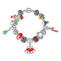 beaded stockings - Cute Silver Charms Bracelets Chirstmas Snowman Trees Stockings Pendant Glass Beaded Bangles DIY Friendship Gifts Fine Jewelry K648