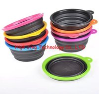 Wholesale Pet Dog Cat Fashion black Silicone Collapsible Feeding Water Feeder Travel Bowl Dish colors